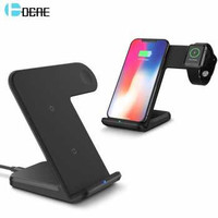 DCAE 2in1 Qi Wireless Charger 10W Smartphone Apple Watch B158 Hitam