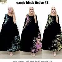 Gamis Combed Black TieDye #2 Longdress Gamis Daster Busui Black Series