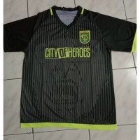 Kaos Baju Bola Jersey Latihan Official Persebaya Hitam City of Heroes