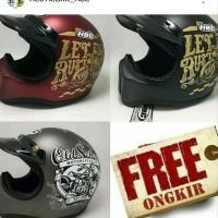 Helm Cakil Hitam Polos / Helm Cross bandit KYT INK MDS centro Retro