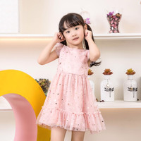 DRESS ANAK LUCU WARNA PINK / DRESS FULL STAR