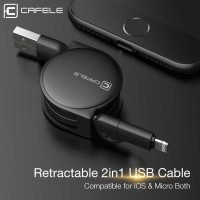 2in1 Kabel Charger Lightning & Micro USB Retractable 1 Meter