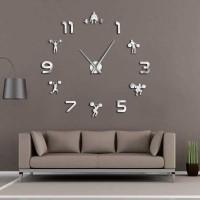 Jam Dinding Besar DIY MOTIF GYM Giant Clock 120 Weightlifting DIY216