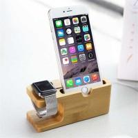 Bamboo Smartphone Stand Holder & Apple Watch Dock