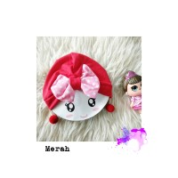 turban bayi anting pompom bahan kaos 0-2tahun merah