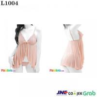 L1004 - Lingerie Babydoll Cream Krem Transparan Panties Ikat Samping