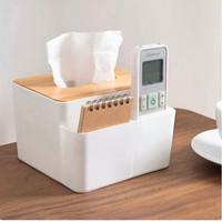 Box Tempat Tissue Kayu Oak + 2 Tempat Penyimpanan Desk Organizer-TT013