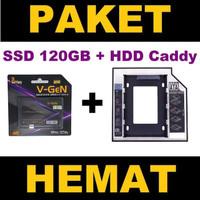 SSD V-GeN 120GB + HDD Caddy 12.7 mm/9.5 mm DVD Slot to HDD Slot