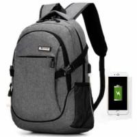 Meijieluo Tas Ransel Laptop Oxford Pria dengan USB Charger Port