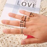 6Pcs Set Cincin Kombinasi Berlian Simple untuk Wanita