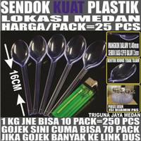Sendok makan bening 25 pcs per pack plastik panjang kuat murah Medan