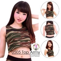 Crop army Sport / Kaos senam olahraga army / Baju senam wanita Gym