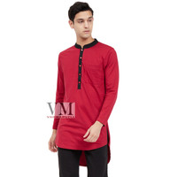 VM Kaos Polos Panjang Jumbo Long Body Merah maroon