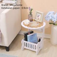 Meja Bulat Multifungsi Coffee Table dari Kayu WPC Elegan Minimalis