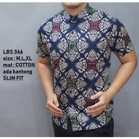 Baju kemeja kantor Pria Cowok Batik lengan pendek panjang slim fit