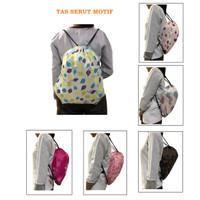 BP23 Tas Serut Cantik Motif Polyester 210D / Tas Pria Wanita Backpack