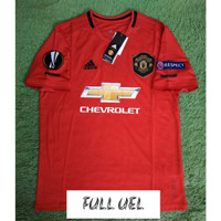 FULL PATCH UEL JERSEY BOLA MANCHESTER UNITED HOME 2019/2020 GRADE ORI