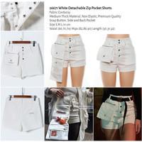 White Detachable Zip Pocket Shorts (size S,M,L) -26671