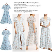 Light Blue Flower Buttoned Long Dress (size S,M,L) -26712