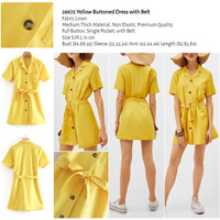 Yellow Buttoned Dress with Belt (size S,M,L) -26672