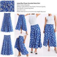 Blue Flower Smocked Waist Skirt (size S,M,L) -26593
