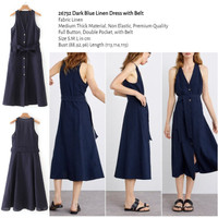Dark Blue Linen Dress with Belt (size S,M,L) -26732