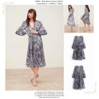 Blue Retro Classic (S,M,L) Loose Dress -49802