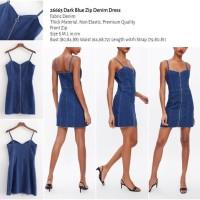 Dark Blue Zip Denim Dress (size S,M,L) -26663