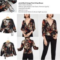Black Orange Floral Wrap Blouse (size S,M,L) -26728