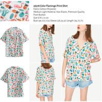 Color Flamingo Print Shirt (size S,M,L) -26578
