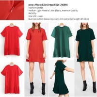 Pleated Zip Dress (RED,GREEN size S,M,L) -26744