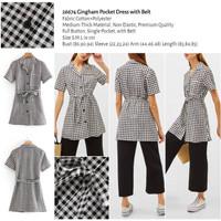 Gingham Pocket Dress with Belt (size S,M,L) -26674