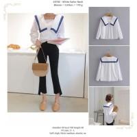 White Sailor Neck Blouse -49782