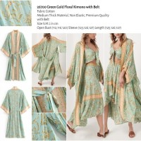 Green Gold Floral Kimono with Belt (size S,M,L) -26700