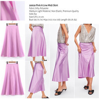 Pink A Line Midi Skirt (size S,M,L) -26609