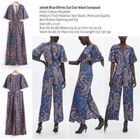 Blue Ethnic Cut Out Waist Jumpsuit (size S,M,L) -26698