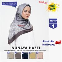 Jilbab Segiempat Nunaya Hazel Maxmara Motif 1 By Azzura - Kerudung Ori