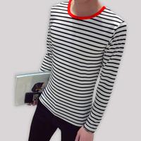 Okechuku MARCO Baju Kaos Pria Oblong Korean Style Lengan Panjang Salur