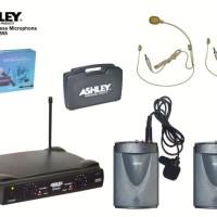 ASHLEY SVX 555 isi 2 Mic Wireless Clip on jepit dada . Headset bonus