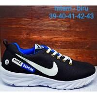 Promo sneakers premium sepatu running nike zoom hitam - biru Keren
