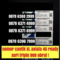 Nomer cantik XL axiata 4G ready triple 999 kartu perdana nomor obral