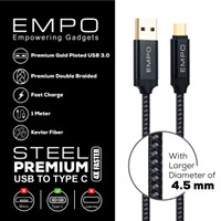 Kabel Charger EMPO STEEL USB 3.0 to Type C Braided Nylon Cable Black
