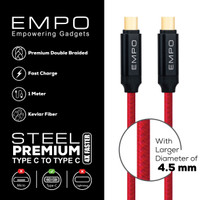 Kabel Charger EMPO STEEL Type C to Type C Braided Nylon Cable Red