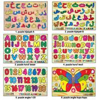 Puzzle Kayu Hijaiyah Huruf Angka Hewan Gambar Edukasi Mainan anak