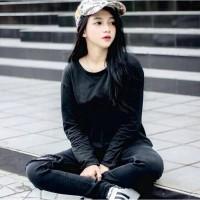 Bess - Kaos Basic Lengan Panjang Polos Hitam Putih Size L - XL - XXL