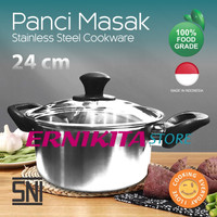 PANCI STAINLESS HAIRLINE 24CM + GLASS LID - STPC0224 (Stella)