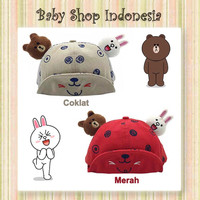 Topi Pad Bayi Topi Anak Murah Topi Anak Import Line Icon Brown Cony