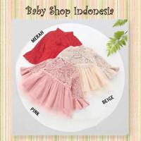 Dress Anak Import Dress Bayi Lengan Panjang Brocade Tutu Simply Plain