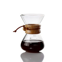 COFFEE SERVER / SERVER KOPI CHEMEX POUR OVER GLASS WOOD HANDLE 400ML