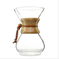 COFFEE SERVER / SERVER KOPI CHEMEX POUR OVER GLASS WOOD HANDLE 600ML